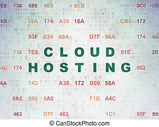 Cloud technology concept: Cloud Hosting on Digital Data...