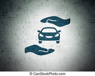 Insurance concept: Car And Palm on Digital Data Paper...