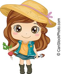 Kid Girl Gardener Beet - Illustration of a Cute Little Girl...