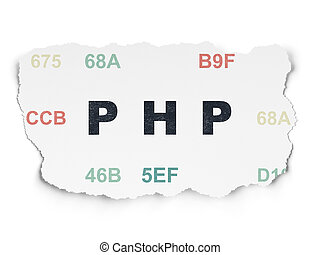 Programming concept: Php on Torn Paper background -...