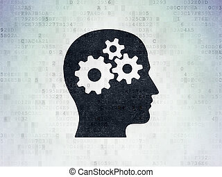 Learning concept: Head With Gears on Digital Data Paper...