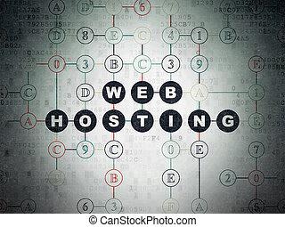 Web design concept: Web Hosting on Digital Data Paper...