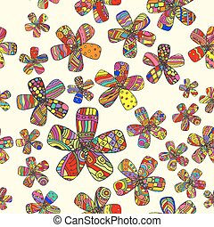Vector Pattern 60s. Seamless Background Inspired Flower...
