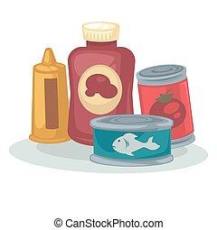 Mustard, sauce, tomato, tuna canned. - Product: mustard,...