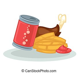 Fried chicken, fries and soda. - Fast food symbols: fried...