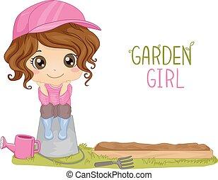 Kid Girl Garden Plot - Illustration of a Little Girl Sitting...