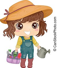 Kid Girl Garden Tool Set - Illustration of a Little Girl in...