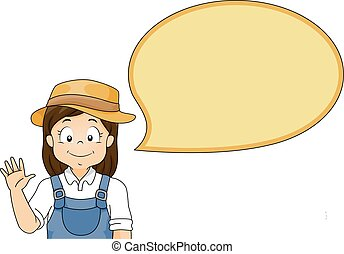 Kid Girl Speech Bubble Gardener - Illustration of a Little...