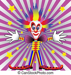 pink & white background with clown