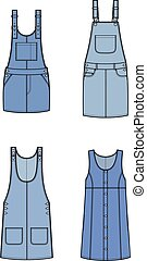Overall dress - Vector illustration of jean overall dress....