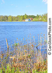 View of Lake Vuoksa. - View of Lake Vuoksa with forest and...
