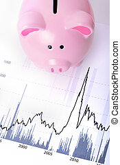 banking stockmarket concept - piggy bank on a stock market...