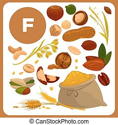 Illustrations of food with vitamin F. - Set with...