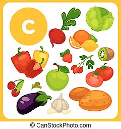 Cartoon food with vitamin E. - Set with illustrations of...