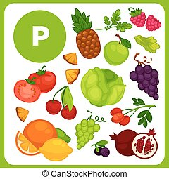 Illustrations of food with vitamin P. - Set with...