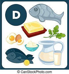 Food illustrations with vitamin D. - Set with illustrations...