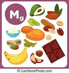 Vector icons with mineral Mg. - Set with illustrations of...