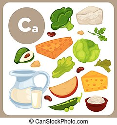 Illustrations of food with Ca. - Set with illustrations of...