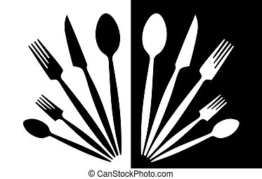cutlery - A set of tableware black and white