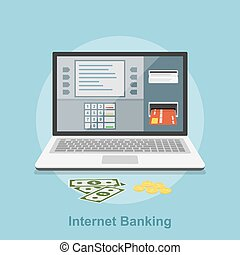 internet banking - Picture of notebook with atm interface on...