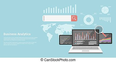 business analytics - flat style concept banner of business...
