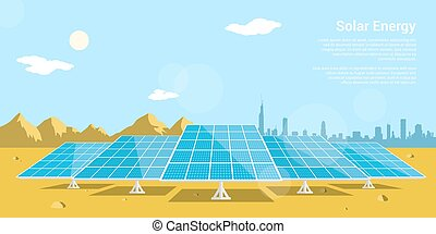 solar energy - picture of solar batteries in a desert with...