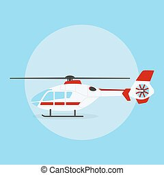 helicopter - picture of civilian helicopter on blue...