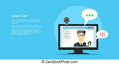 video call concept - picture of computer monitor with online...