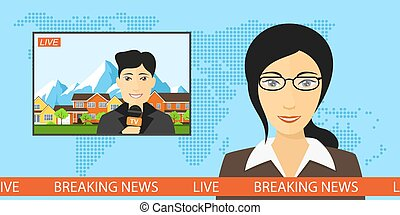 live news broadcasting - News announcer in the studio with a...