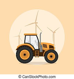 tractor - picture of a tractor with windmill silhouettes on...