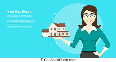 new house advertisement - picture of young woman holding new...