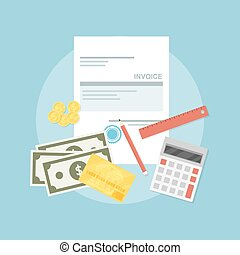 invoice - picture of invoice sheet, pen, calculator, ruler,...