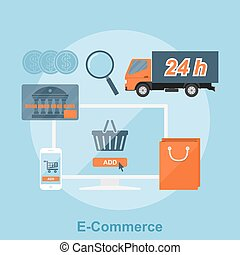 e-commerce - poster concept with icons of buying product via...