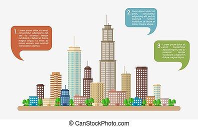 Big city with speech bubbles