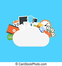 cloud storage concept - picture of a cloud with various...