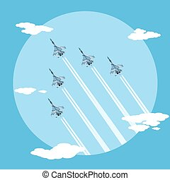 fighter planes - picture of five fighter planes flying...