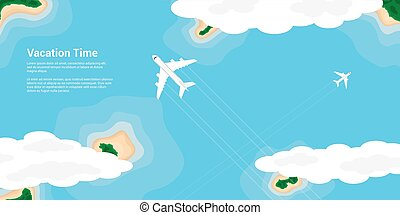 vacation time concept - picture of a civilian planes flying...