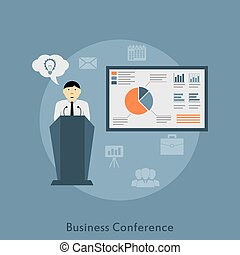 Business Conference - picture of a man making a speech on...