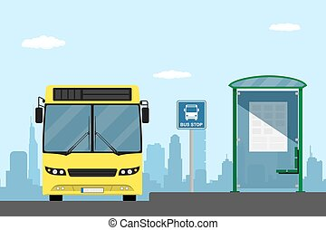 bus stop - picture of a yellow city bus on a bus stop, flat...