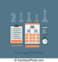 strategy and planning - set of business elements icons,...