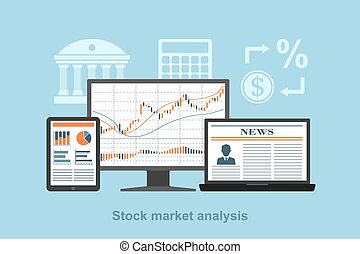 stock market analysis - flact style concept for stock market...