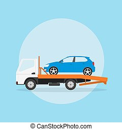 tow truck - picture of the tow truck with car on it, flat...