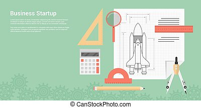 business startup - flat style banner concept of new business...