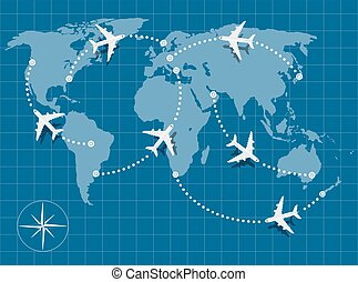 flight map - picture of world map with flying planes on it