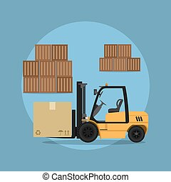 fork loader - picture of a fork loader with commodity boxes,...