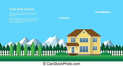 your new house - mountain summer landscape, flat style...