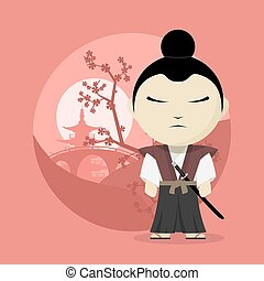 samurai - picture of a cartoon samurai, flat style...
