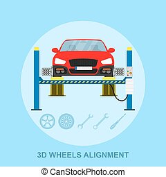 wheels alignment - picture of a car with computerized...