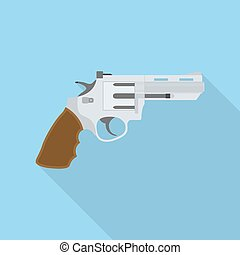 revolver - picture of a revolver, flat style illustration