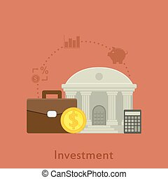 investment - flat style illustration with icons for money...